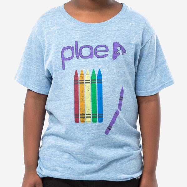 kids crayons tee - blue heather