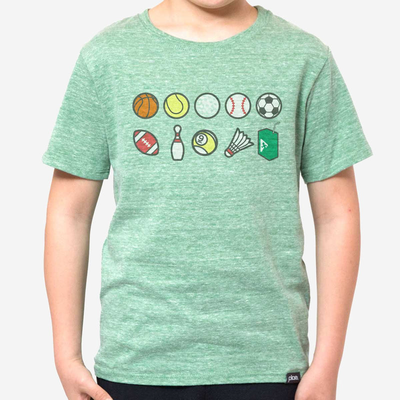 kids perks n rec tee - green heather