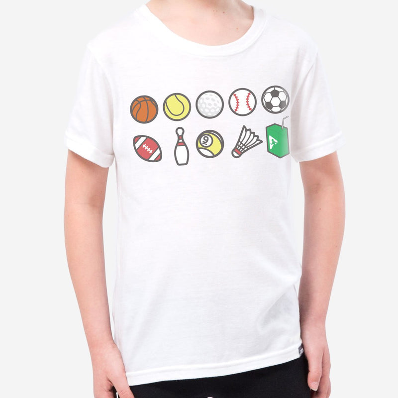 kids perks n rec tee - white heather