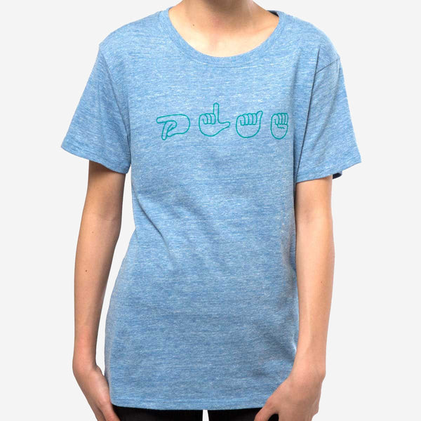 kids signs tee - blue heather