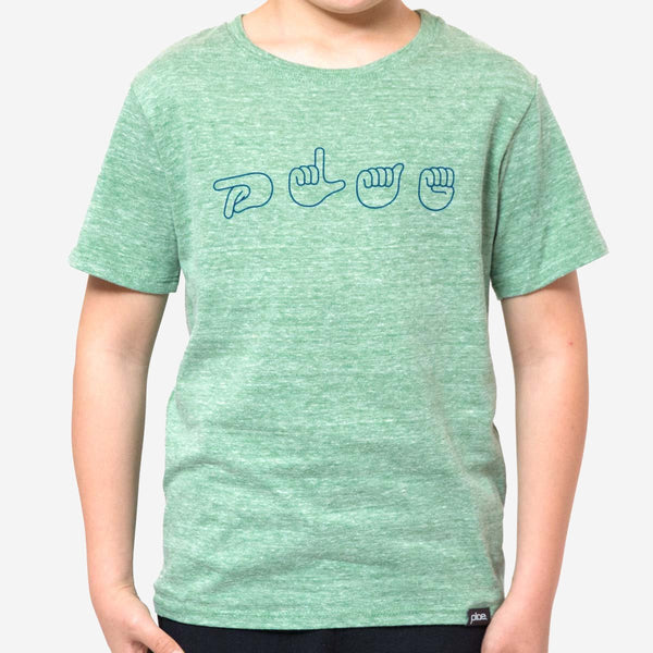 kids signs tee - green heather