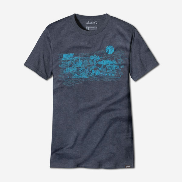 mens city tee - water heather