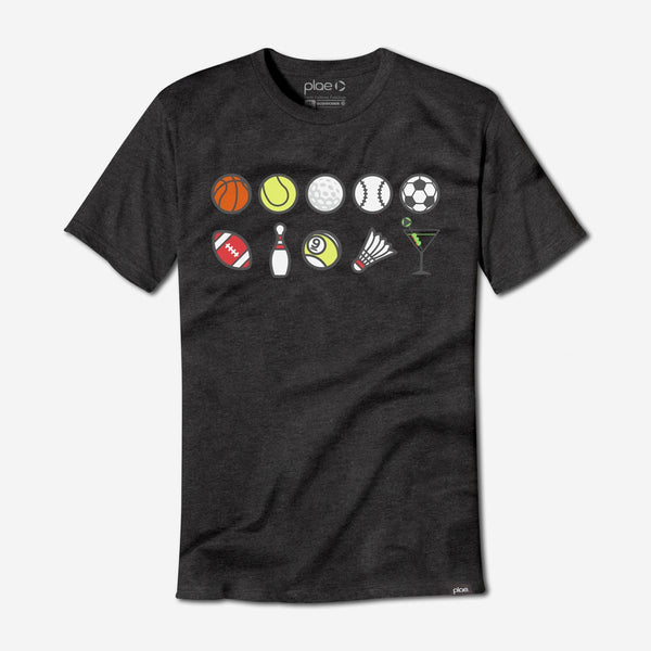 mens perks n rec tee - charcoal heather