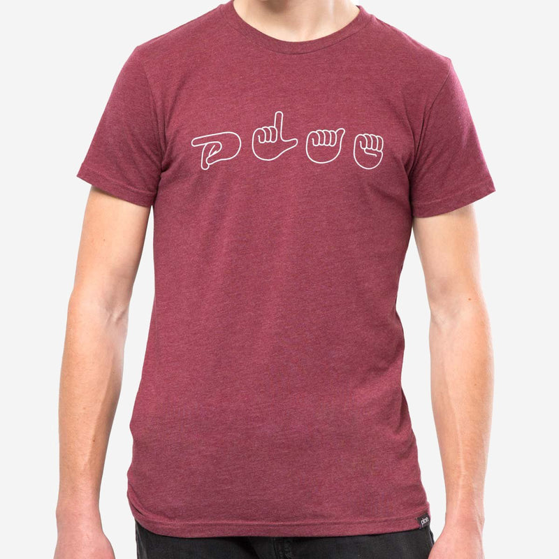 mens signs tee - berry heather