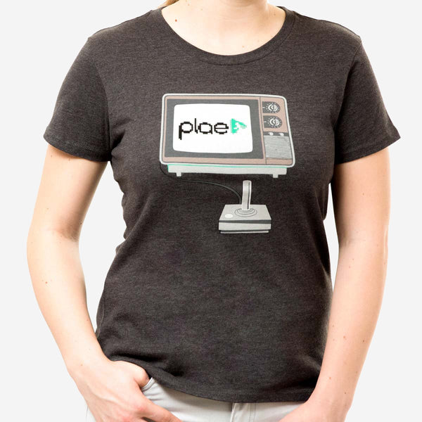 womens 8 bit tee - charcoal heather