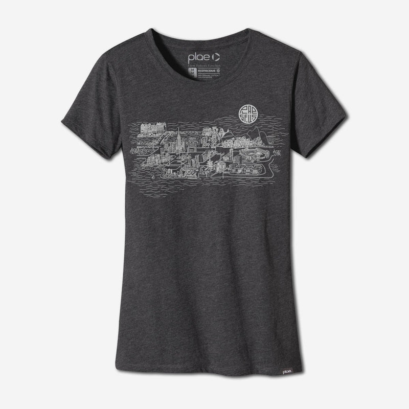 womens city tee - charcoal heather