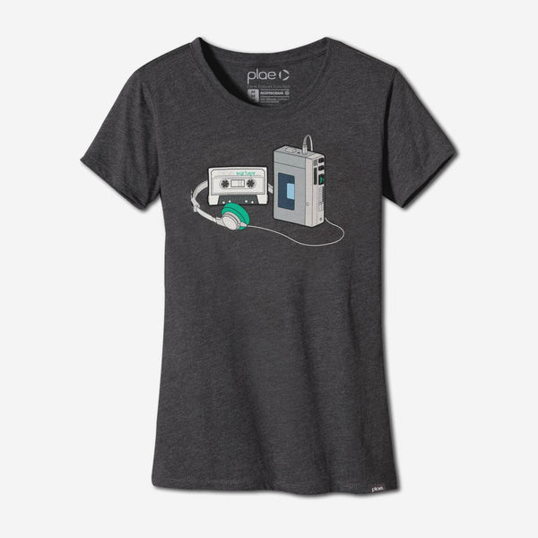 womens mixtape tee - charcoal heather
