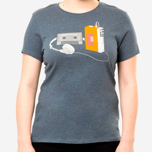 womens mixtape tee - water heather