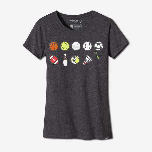 womens perks n rec tee - charcoal heather