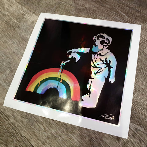 "Number 1 of 25 Metallic Holographic ""Rainbow"" 'Rainbow Boy' Hand Signed 25 Unit Limited Edition Print Run (40cm sq.)"