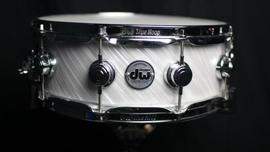 DW Collector's Maple Standard Twisted White Satin Snare Drum (C note) SO# 866975 (video demo)