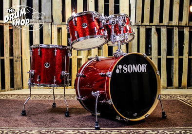 Sonor Force 3007 Drum Set, Red Sparkle Finish