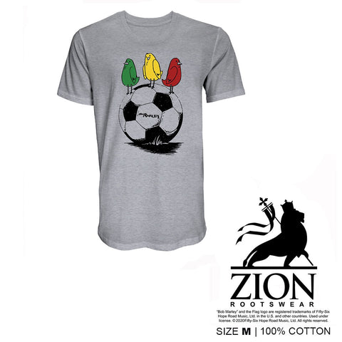 BOB MARLEY - 3 LITTLE BIRDS SOCCER GREY UNISEX FRONT PRINT ONLY