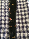Black Floral & Navy Gingham Cotton Eyelet
