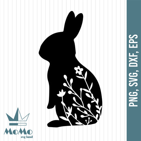 Rabbit With Flower Svg, Bunny Svg, Rabbit Svg, Easter Day, Easter Svg, Digital Download, Svg