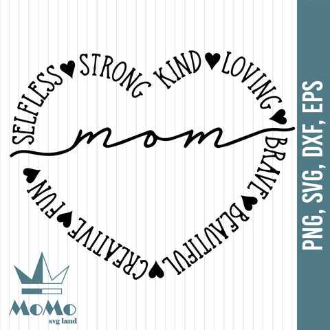 Mother's Day Svg, Mom Svg, Love Mom Svg, Heart Svg, Mother's Gift, Digital Download, Svg