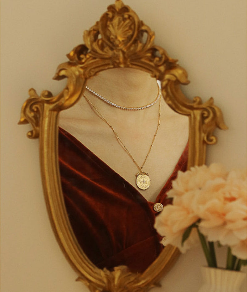 Tennis Chain Choker & French Medallion Vintage Necklace