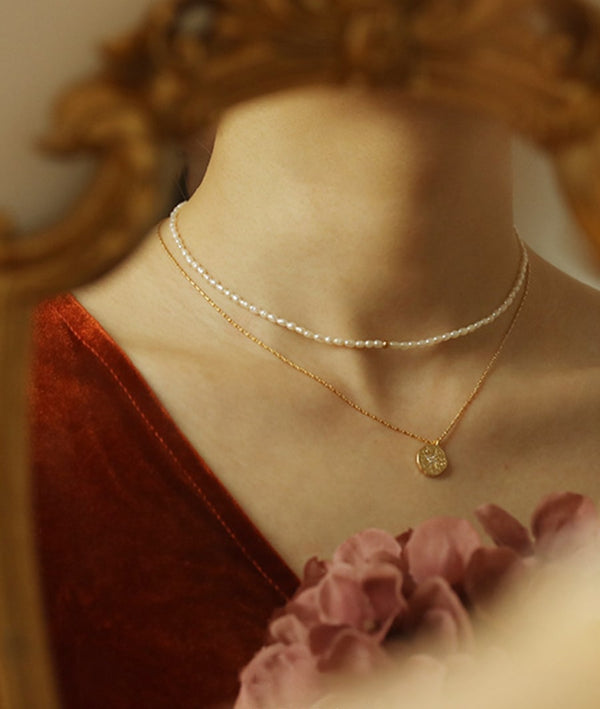 Deja Vu Vintage Pearl Choker & Polaris Medallion 18KGold Plated Necklace
