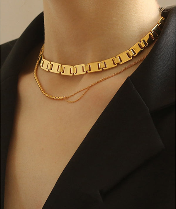 Chunky Flat Luxury Thick Chain Choker & Minimalist Thin Necklace