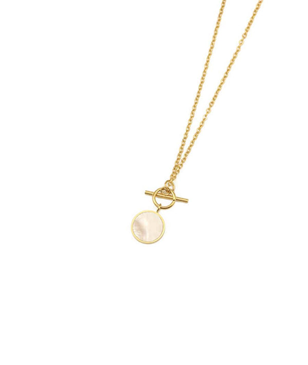 Round Natural Shell With Toggle Clasp Necklace