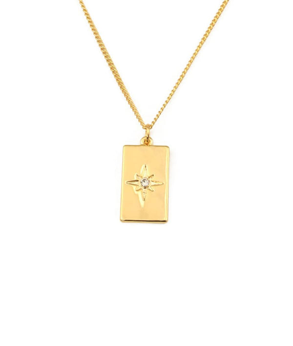 Eight Pointed Star Square Medallion Necklace