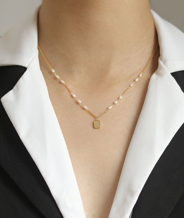 Square Medallion & Pearl Necklace