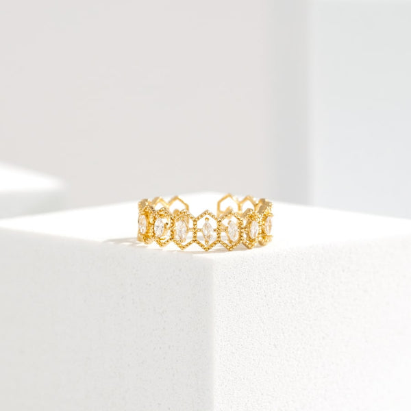 Elegant Tiara Open Ring