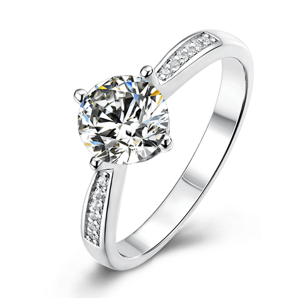 Classic Four-Prong | Zircon Gemstones Band Solitaire Diamond Ring (1.0ct)