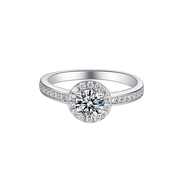 Round Rim | Zircon Gemstones Band Moissanite Ring (0.5ct)