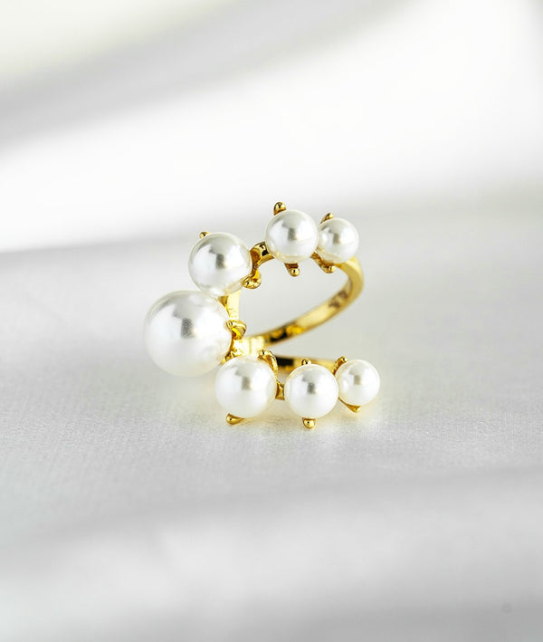 Elegant Pearl|Golden Open Ring