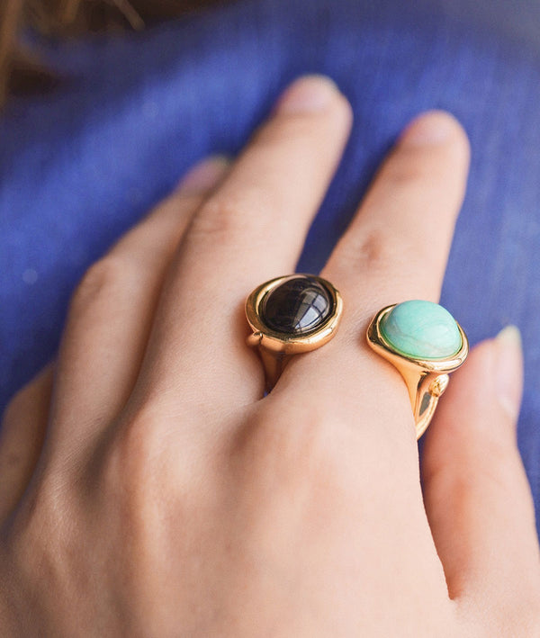 Two-tone Gemstone| Adjustable Open Ring