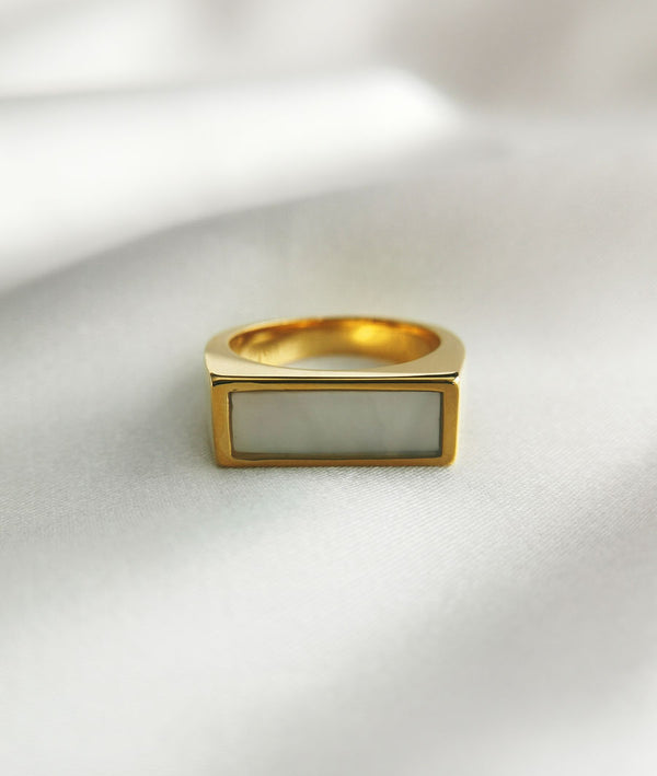Square Seashell Beads| gold plated Ring