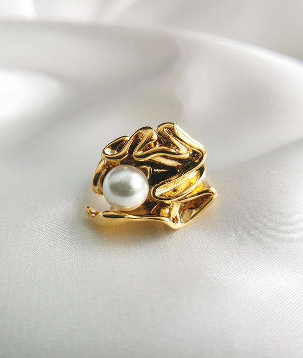 Flower & Seashell Bead| Plated With 18K Gold Ring