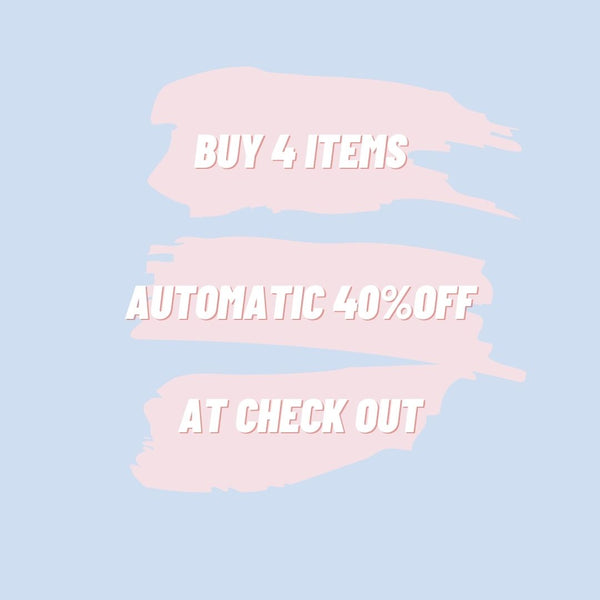 Buy 4 items for automatic 40%off at checkout