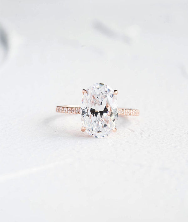Oval Cut Hidden Halo|Brilliant Solitaire Ring