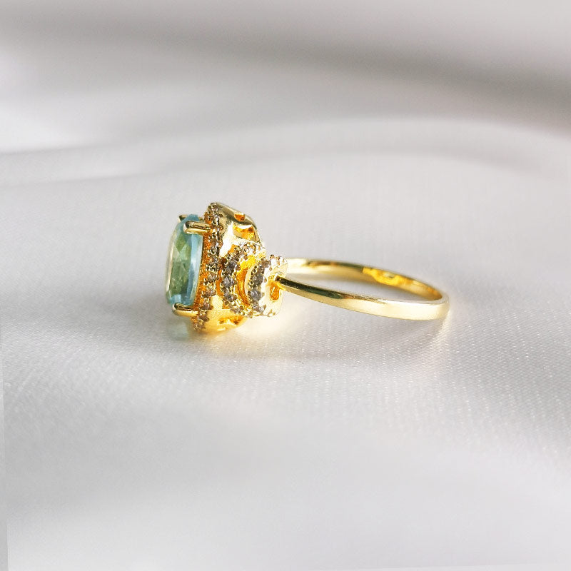 Aquamarine Ocean Dream |18K Gold Plated Vintage Ring