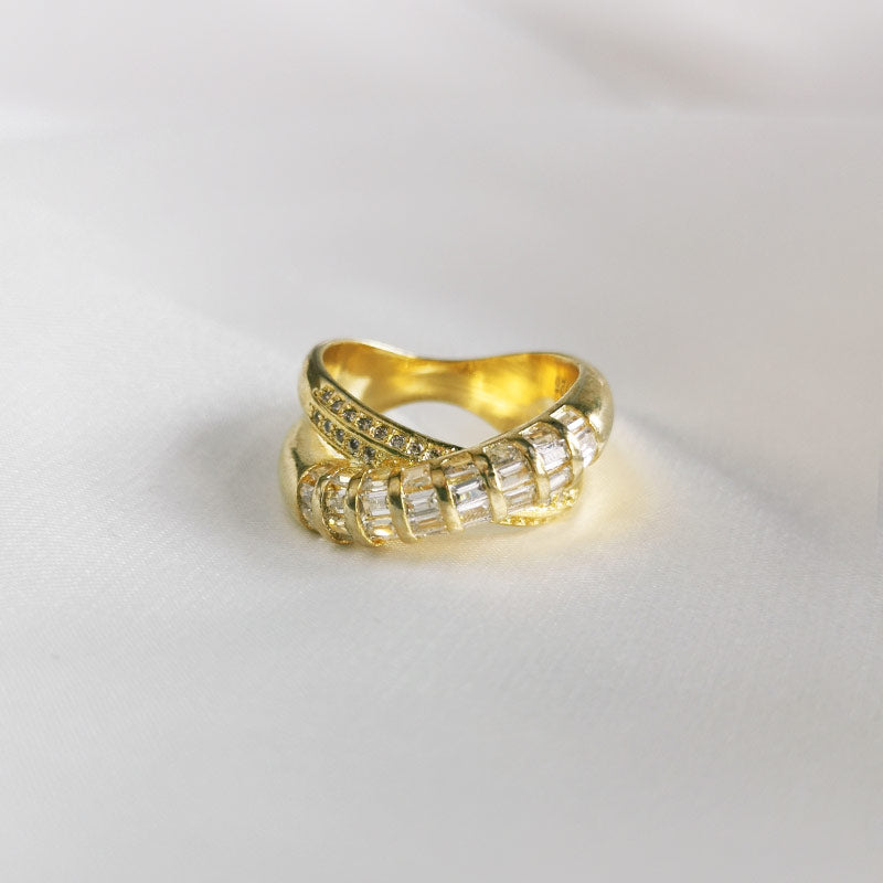 Golden Conch | Vintage Gold Plated CZ Rings