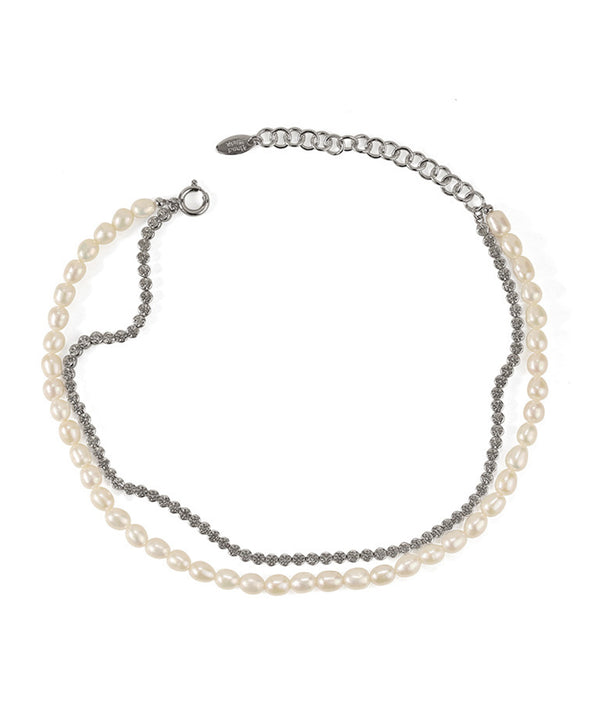 Zirconia & Pearls Double Layer Choker