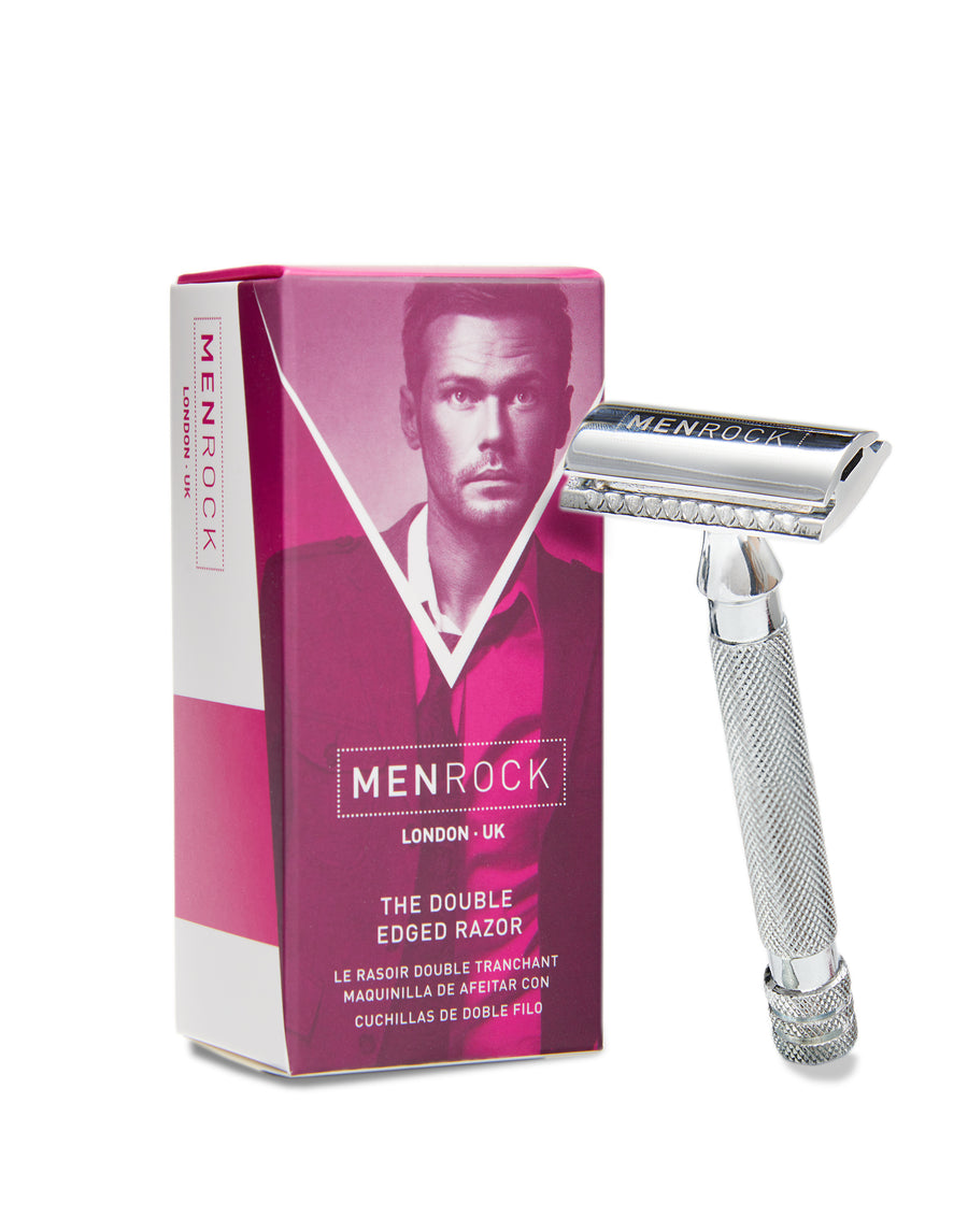 Men Rock Double Edged Razor with a double-edged blade for a smooth wet shave experience.