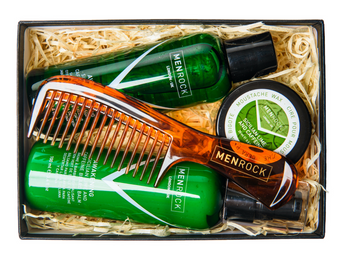 Men Rock Beard Care Set with Sicilian Lime and Caffeine Soap, Balm, Moustache Wax and Comb is a perfect beard grooming kit and gift