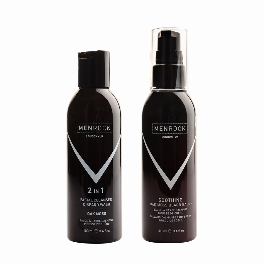 Men Rock Oak Moss Beard Wash and Balm Set