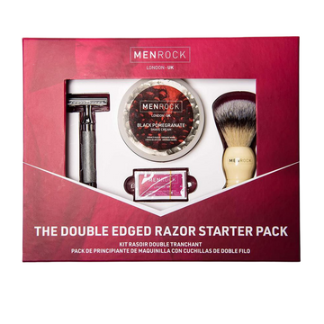 Traditional shaving kit with Double Edge Razor, Black Pomegranate Shave cream, brush and replaceable blades packed in a gift box