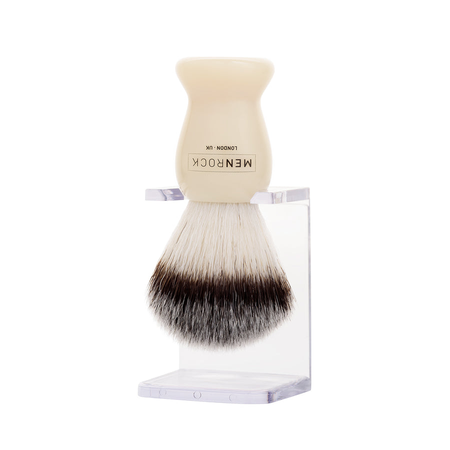 Clear drip stand with shaving brush from Men Rock