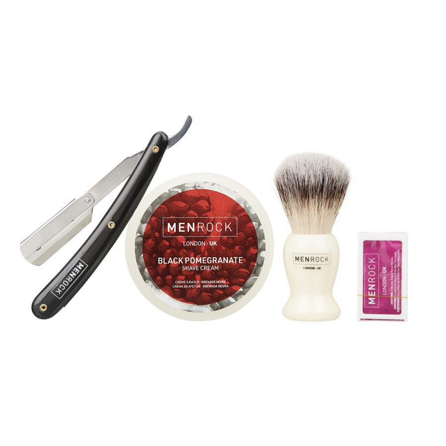 Shavette Razor, Black Pomegranate Shave Cream, Brush and replaceable blades for wet shaving