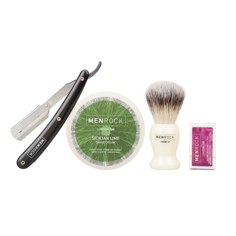 Straight Razor Shavette, shave cream and brush for traditional wet shaving