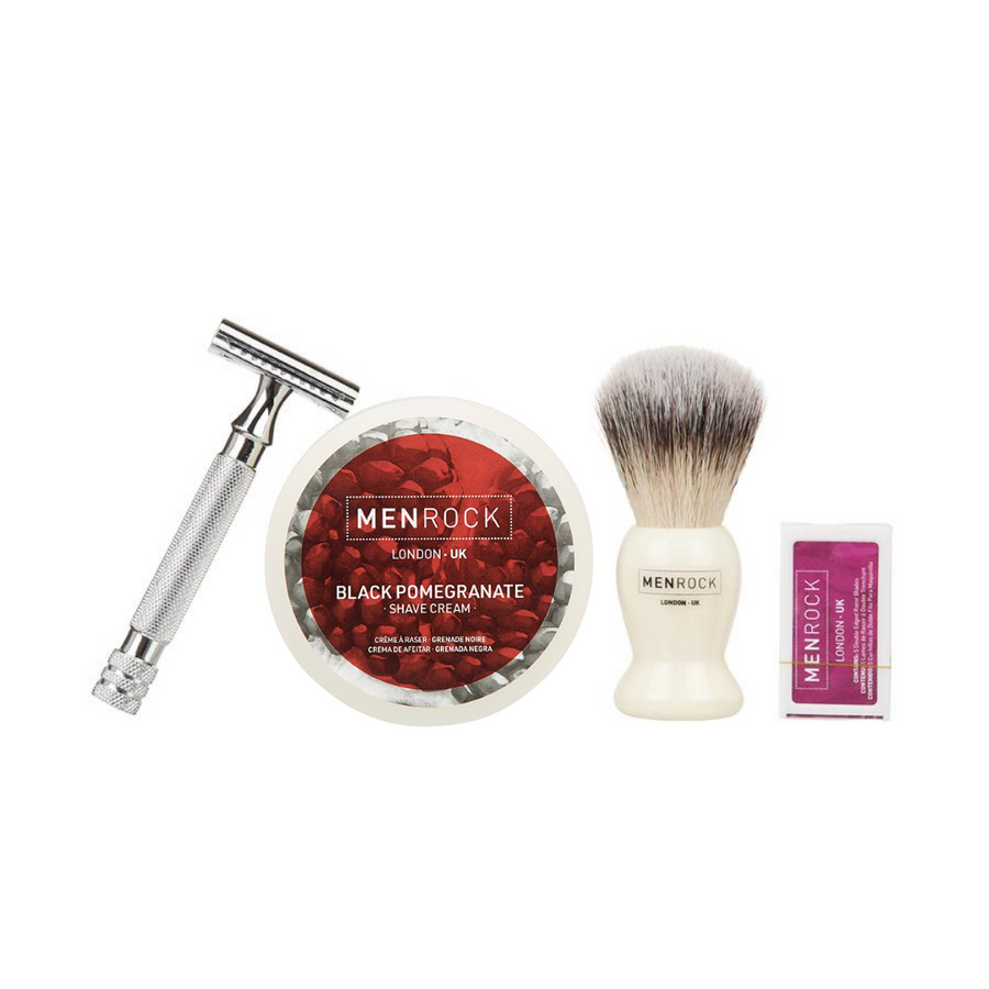 Double Edge Razor, Black Pomegranate Shave cream, brush and replaceable blades for traditional wet shaving