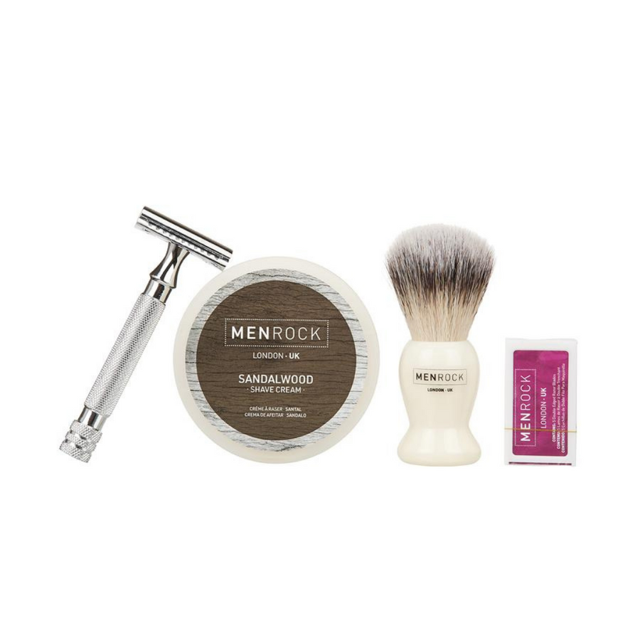 Traditional wet shDouble edged razor, sandalwood shave cream, brush and replaceable blades