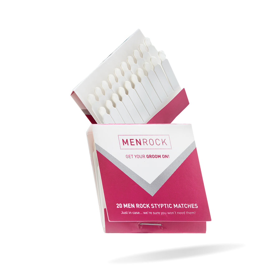 Men Rock styptic matches are perfect solution if you cut yourself when shaving
