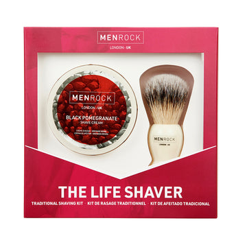 Men Rock Traditional Shaving Kit with shave cream and classic shaving brush