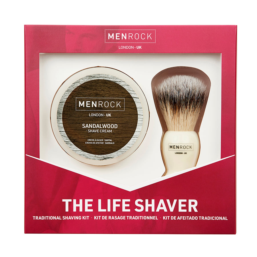 Men Rock wet shaving gift set with non-aerosol sandalwood shave cream and classic brush